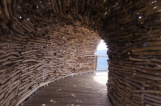 dřevěný tunel